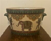 Chinese Ceramic Jardiniere Planter Fishbowl Pot - Elephant & Monkey Design