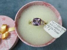 Solid 10K Gold (New) Ladies Size 6 3/4 1.5 Carat Amethyst Cushion Cut Ring