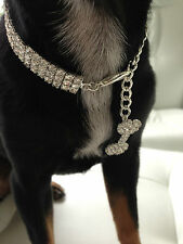 Luxury Diamond 3row dog/pet Bling jewellery/collar.Med. Length 25cm+7cm extender