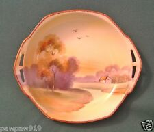 VINTAGE NIPPON PORCELAIN HAND PAINTED SCENE CANDY DISH OPENED HANDLE BOWL MARKED