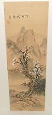 Old Japanese River Mountain Landscape Original Watercolor Silk Painting Signed