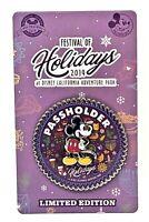 Disney Parks 2019 Passholder Mickey Disneyland Pin Festival Holidays Christmas