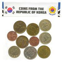 10 SOUTH KOREAN COINS FROM EAST ASIA. REPUBLIC OF KOREA: WON