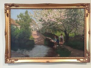 "JAMES GLEDHILL Circa 1900 English SIGNED IMPRESSIONISM OIL/CANVAS ""HAPPY DAYS"""