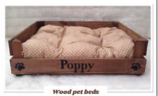 RUSTIC WOOD PET BED CAN BE PERSONALIZED FOR YOUR PUPPY CAT PUG DOG chihuahua