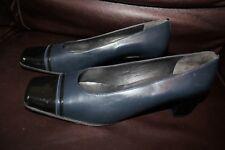 JB Martin Navy Blue Women Court All Leather Shoes Plus Size EU 44 UK 10