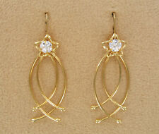 Earring set 4 pc gold Star Jackets CZ Posts Shooting Dangles and Convertiblezs