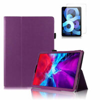 For Apple iPad Air 4th Gen (2020) Flip Case Cover With Tempered Glass Protector