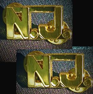"NJ N.J. KNIGHT TEMPLAR COLLAR INSIGNIA POLICE FIRE ETS 9/16"" GOLD PAIR(KT NJG)"