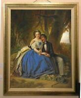 Hand Painted Old Master-Art Antique Oil Painting Portrait couple on canvas