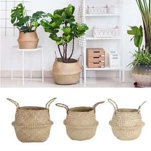 Seagrass Woven Storage Wicker Basket Flower Plants Straw Pots Bag Home Decor