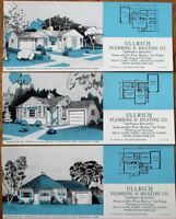 Chicago, IL 1949 Advertising Blotters-SET OF FOUR w/Home Plan - Plumbing/Heating