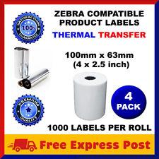 4 Rolls Thermal Transfer Zebra Printer 100mm X 63mm Label + Wax Resin Ribbon