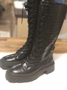 Zara Lace up Animal Print Knee High Boot Sz 36 USA 6  NWOB