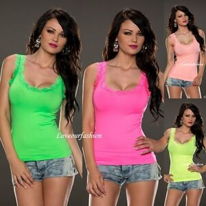 Sexy Women Lady Summer Party Top Vest Tank Stretchy T shirt Lace UK size 8-12