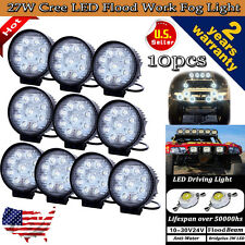 "10X 4"" 27W Flood LED Work Light Offroad Boat Car Tractor Truck Fog Lamp Lighting"