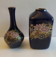 Vintage Vase Cobalt Blue Japan Floral Rickshaw Set of 2 Chrysanthemum Gold Trim