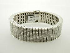 Mens/Unisex 14K White Gold 35 CTW Diamond Bracelet