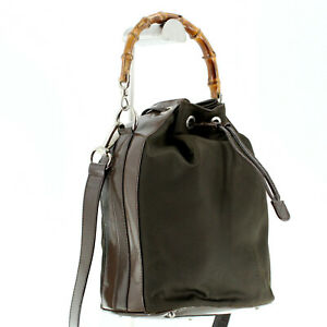 GUCCI Vintage Bamboo Handle Canvas Bucket Shoulder Bag in Brown - Made in Italy
