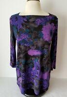 Clara Sun Woo Purple Abstract Print Tunic Stretch Blouse 3/4 Sleeve XS