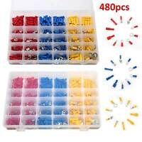 480PCS ELECTRICAL WIRE TERMINALS ASSORTMENT SET INSULATED CRIMP CONNECTORS SPADE