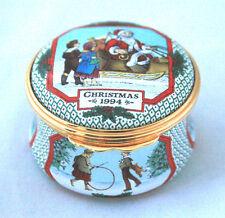 Halcyon Days Enamels 1994 Christmas Jewelry Trinket Box with Original Box
