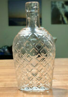 NICE SMALL CRYSTAL COLORED QUILTED COFFIN FLASK LONG NECK 1890's Era RARE!