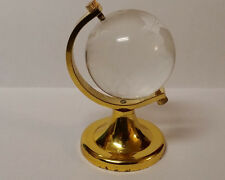 "LEAD CRYSTAL GLASS MINI EARTH GLOBE PAPERWEIGHT WITH BRASS STAND 3"" TALL ~CUTE!"