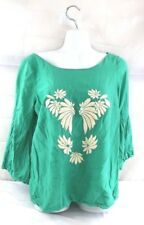 Miss Closet sz M embroidered bell sleeve peasant blouse boho gypsy