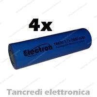4x Batteria litio 18650 2600 mah pin polo piatto sigaretta elettronica batterie