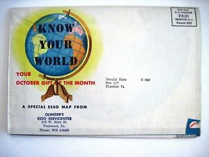 "1940-50's Esso Gas Co. ""Know Your World Colored Map"" w/ Beautiful Colors"