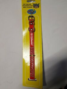 Collar Cat Pet Red Shiny With 2 Rows Diamentes Buckle Bell 30cm