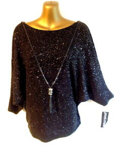 Frank Lyman UK14 Black NEW attached necklace batwing sleeve sparkly top (3523