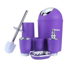 6PCS Bathroom Accessories Set Bin Toothbrush Tumbler Holder Soap Dish Dispenser