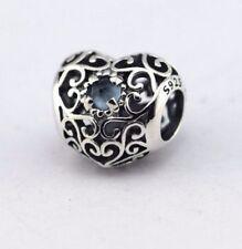 Authentic Pandora SIGNATURE HEART Openwork Birthstone Charm Beads - September