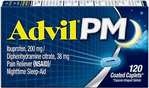 Advil PM (120 Count) Pain Reliever Nighttime Sleep Aid Coated Caplet, 200mg