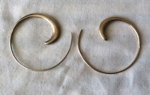 """Unusual Larger Size Silver """"Coil"""" Hoop Earrings. Marked 925 .G.C!"""
