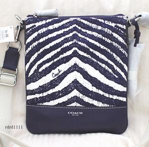 NWT COACH Zebra Printed Canvas Purple Swingpack Crossbody Swing Bag Purse NEW