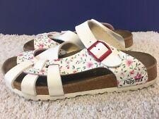 BIRKENSTOCK Papillio White Floral Sandals Pisa 250 Size L8 M6 EU 39 Buckle EUC!