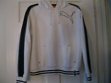 PUMA WHITE/BLACK YOUTH XL PULL OVER HOODIE WITH DRAWSTRING, RECENTLY LAUNDERED