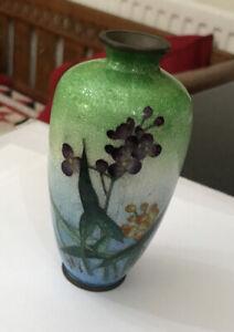 Vintage MIniature 12cm GInbari Enamel Cloisonné Vase Signed - Damaged
