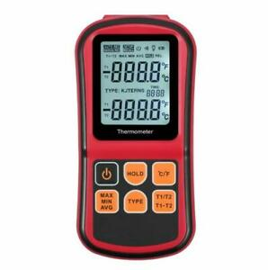 Handheld Digital Thermocouple Thermometer Dual Channel Temperature Meter Tester