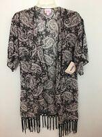 Lularoe Monroe Kimono  Small Black Gray Paisley Fringe 3/4 Sleeve New