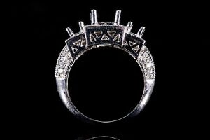 Art Deco Style Antique Inspired Engagement Ring/ 18 KWG Setting Only Semi Mount