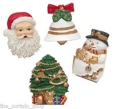 Xmas Christmas Time Shower Curtain Hooks Set of 12 Santa Tree Snowman Bell