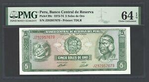 Peru 5 Soles de Oro 15-8-1974 P99c Uncirculated Graded 64