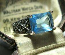 Vintage Style Art Deco Sterling SILVER Marcasite Blue Topaz Crystal RING N 6.75