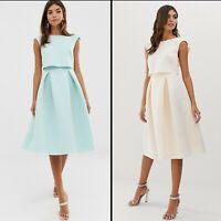 ASOS™ DESIGN $110 Fold Back Crop Top Midi Prom Dress - MINT, BLUSH