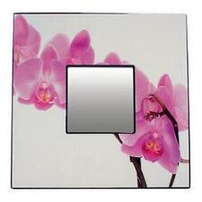 Cadre laqué décor orchidée avec miroir