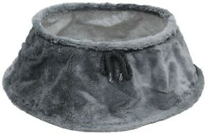 Large Christmas Tree Skirt Faux Fur 60cm Wide At Base Conical Shaped Dark Grey